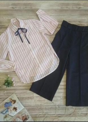 Льняная полосатая рубашка