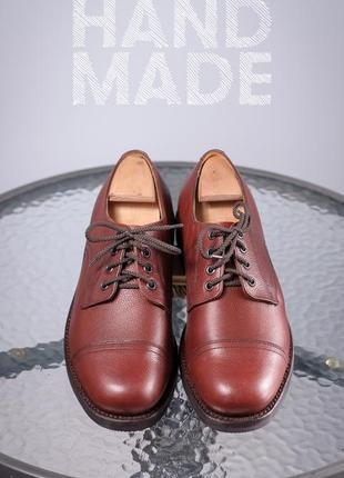Кожаные дерби ручной работы 42,5-43 мужские туфли кожа шкіра чоловічі мешти