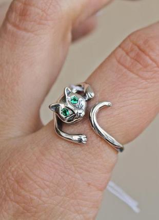 Серебряное кольцо багира р.18,5-20,5