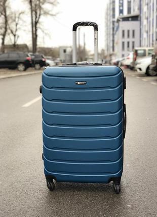 Распродажа! большой пластиковый чемодан синий / велика пластикова валіза синя