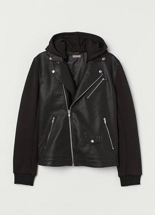 Стильная деми куртка с тканевыми вставками косуха h&m m/l