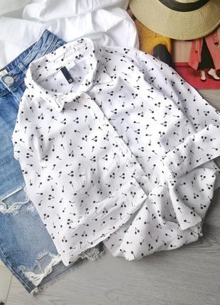 Крутая белая рубашка h&m блузка с принтом вышеньки