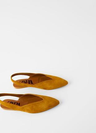 Туфли - балетки из натуральной замши zara
