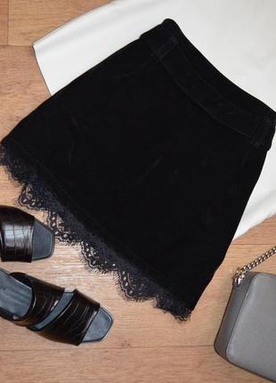 Новая вельветовая велюровая чёрная юбка прямая motel rocks