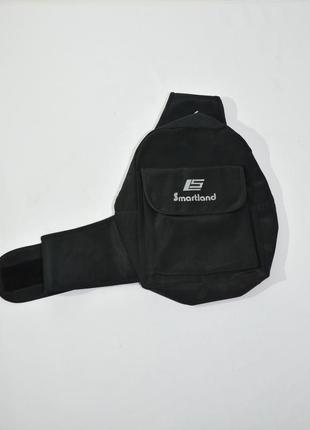 Мужской текстильный черный рюкзак на одной лямке smartlands.  код 2621