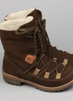 Фирменные кожаные зимние ботинки на меху в стиле columbia salomon ecco clarks timberland