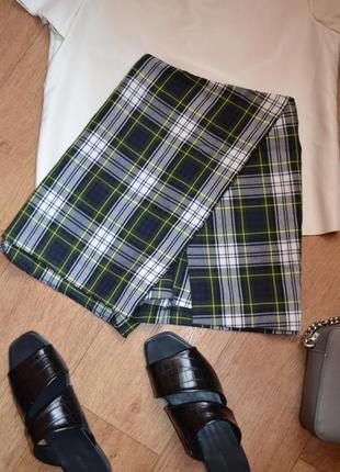 Шорты в клетку ассиметричные юбка шорты клетчатые м 38 c 36 на весну