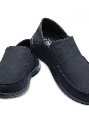 Мокасины слипоны крокс чёрные crocs santa cruz