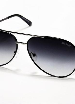 Очки солнцезащитные bvlgari 8122 черные с хромом авиаторы