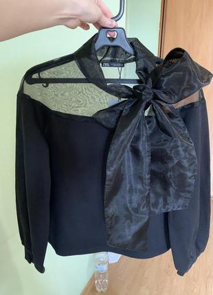 Новый чёрный свитер с бантом zara5 фото
