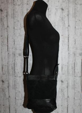 Кожаная сумка через плечо от next 100% натуральная кожа+замша