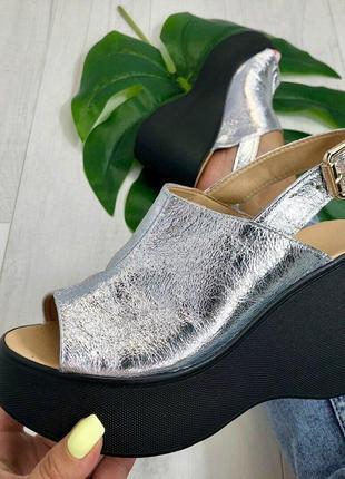 Босоножки серебро на танкетке натуральная кожа или замша