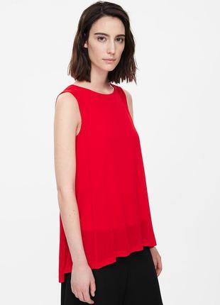 Красная блуза без рукавов cos размер xs,s,m,l