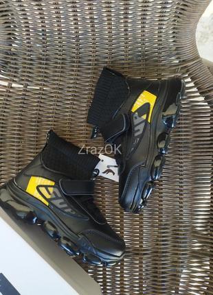 Черные высокие кроссовки ботинки демисезонные осенние на липучках