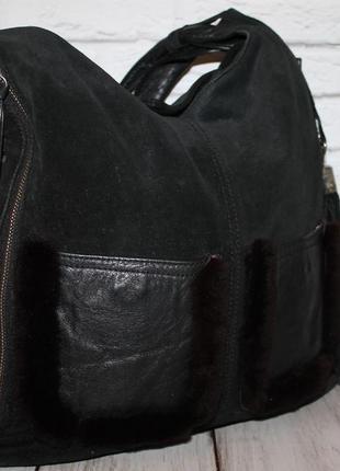 Большая вместительная сумка натуральная кожа+замша