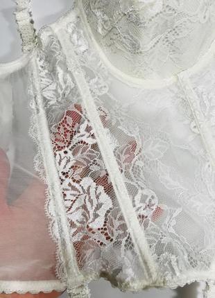 Шикарний кружевний корсет балконет кольору айворі від beldona! італія ❤️ сток! eu 75d