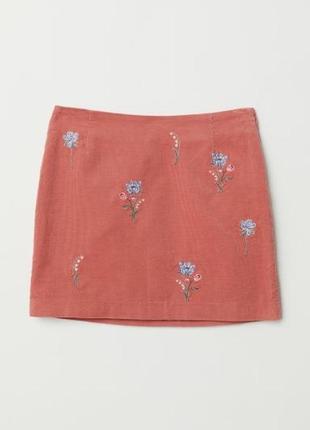 Вельветовая юбка с вышивкой, р. 46 евро - 52 наш