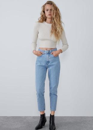 Трендовые новые джинсы бананы мом fit с высокой посадкой момы zara xs s