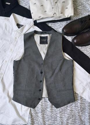 Topman мужской серый жилет