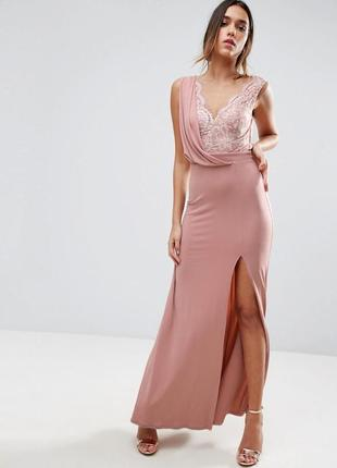 Невероятно нежное пастельное выпускное вечернее платье макси с кружевом и разрезом asos