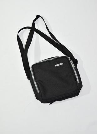 Маленькая черная текстильная сумка через плечо . код 2317