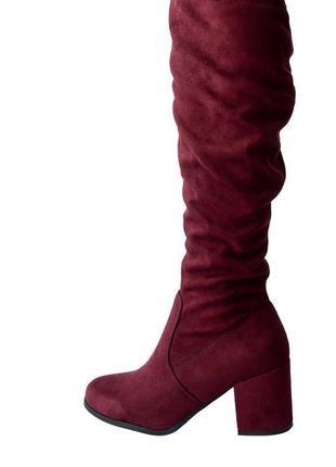 Крутые весенние сапоги ботфорты на маленьком каблучке бордового цвета, р.39/24,5см...❤️💋🍓