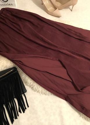 Мега крутая и супер стильная юбка макси марсала с разрезами по бокам, р.с/м🍓💋❤️