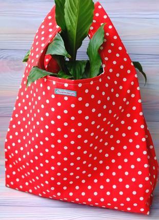 """Сумка-пакет """"маечка"""" для покупок в горох, эко сумка,торба, сумка шоппер"""