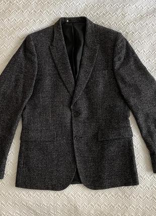 Пиджак paul smith серо-коричневый мужской твидовый шерстяной