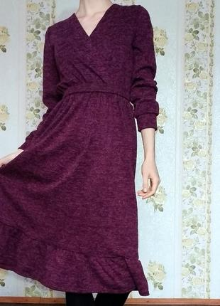 Теплое платье миди марсала меланж миди ниже колена