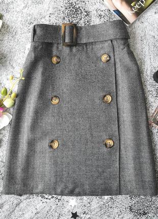 Серая мини юбка