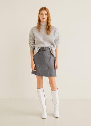 Серая мини юбка4 фото