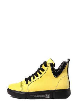 Кожаные женские яркие желтые демисезонные спортивные ботинки на шнуровке натуральная кожа