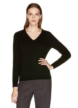 Черный шерстяной 100% шерсть джемпер кофта свитер водолазка benetton