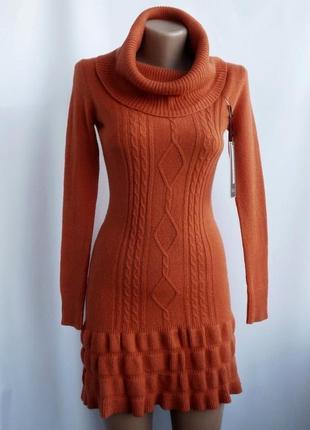 Красивое теплое вязаное платье - кирично-оранжевое