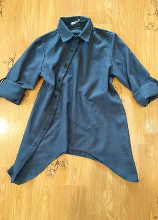 Рубашка льон с асиметричным низом