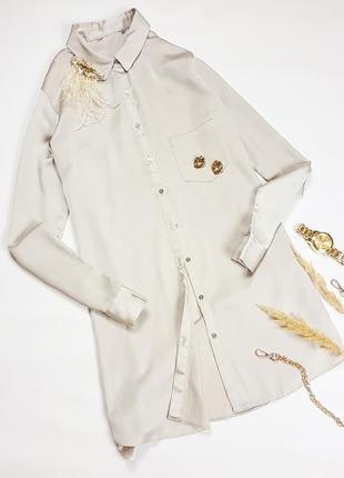 Подовжена сатинова блуза  бежево-золотистого кольору  dorothy perkins