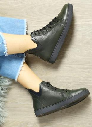 Кожаные женские темно-зеленые демисезонные спортивные ботинки на шнуровке натуральная кожа