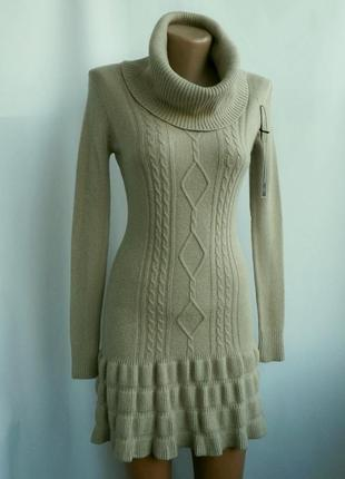 Красивое теплое вязаное платье - светло-бежевое