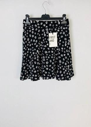 Качественная легкая расклешенная юбка с высокой талией цветы first and i by asos