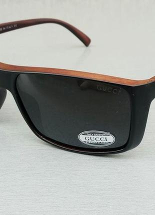 Gucci очки мужские солнцезащитные поляризированые черно коричневые