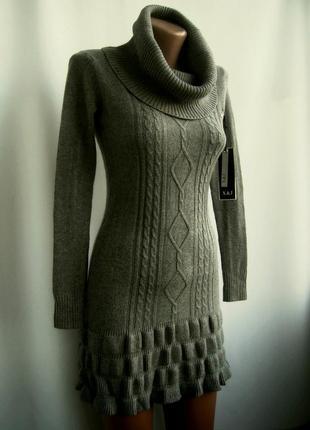 Красивое теплое вязаное платье - серое