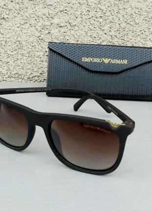 Emporio armani очки мужские солнцезащитные коричневые поляризированые