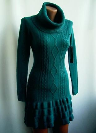 Красивое теплое вязаное платье - бирюза