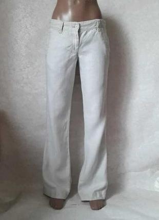 """Фирменные french connection брюки/штаны со 100 % льна цвета """"беж"""", размер с-м"""