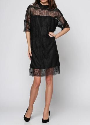 Черное кружевное платье moss copenhagen