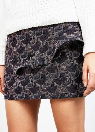 Качественная жаккардовая мини юбка с рюшей высокая талия bershka