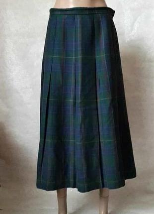 Новая стильная юбка миди плиссе со 100 %шерсти в крупную красочную клетку, размер л-ка