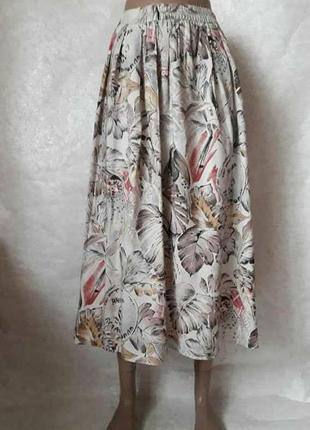 """Шикарная вискозная на 100% юбка миди в принт """"африканский попугайчик"""", размер л-хл"""