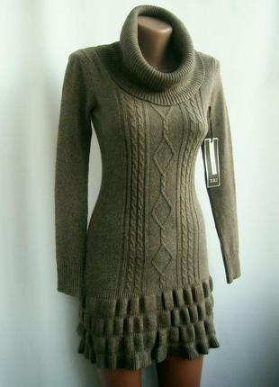 Красивое теплое вязаное платье - хаки